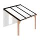 Douglas houten terrasoverkapping compleet, aan muur, opaal wit dak, breedte tot 3,16 m x diepte tot 3,5 m. Profielen antraciet