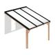 Douglas houten terrasoverkapping compleet, aan muur met opaal wit dak, breedte tot 3,16 m x diepte tot 4,5 m. Profielen antraciet