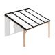 Douglas houten terrasoverkapping compleet, aan muur, opaal wit dak, breedte tot 4,16 m x diepte tot 3,5 m. Profielen antraciet