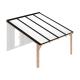 Douglas houten terrasoverkapping compleet, aan muur met opaal wit dak, breedte tot 4,16 m x diepte tot 4 m. Profielen zwart