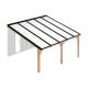 Douglas houten terrasoverkapping compleet, aan muur met opaal wit dak, breedte tot 5,16 m x diepte tot 4 m. Profielen antraciet
