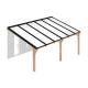 Douglas houten terrasoverkapping compleet, aan muur, opaal wit dak, breedte tot 6,16 m x diepte tot 3,5 m. Profielen antraciet