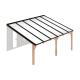 Douglas houten terrasoverkapping compleet, aan muur met opaal wit dak, breedte tot 6,16 m x diepte tot 4,5 m. Profielen antraciet
